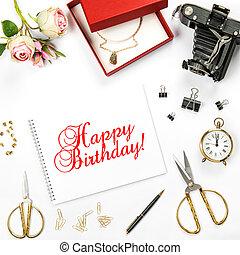 Birthday flat lay gift box rose flowers Greetings card