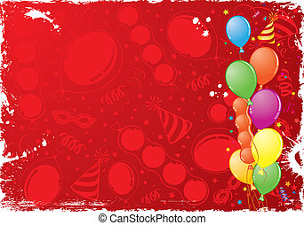 Birthday Frame - Birthday grunge frame with balloon,...