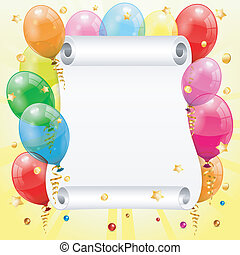 Birthday Frame with 3D Transparent Birthday Balloons, Scroll...