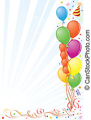 Birthday Frame with Balloon, Streamer and Party Hat, element...