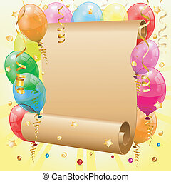 Birthday Frame with 3D Transparent Birthday Balloons, Scroll Paper, Confetti and Streamer, vector
