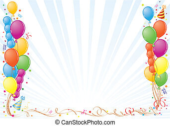 Birthday Frame with Balloon, Streamer and Party Hat, element for design, vector illustration