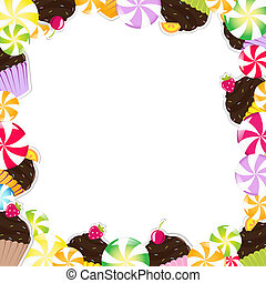 Birthday Frame With Cupcake