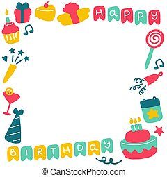 Birthday frames. Celebration b-day icon set. Hand drawn elements. Vector