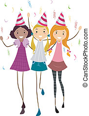 Birthday Friends - Illustration of a Girl Celebrating Her...