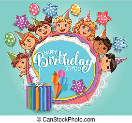 Birthday fun card with cute kids