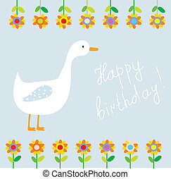 Birthday funny card for child with flowers and goose