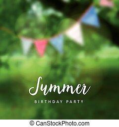 Birthday garden party. Brazilian june party. Festa junina. Party decoration, flags. Modern blurred background. Vector.