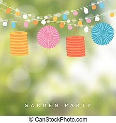 Birthday garden party or Brazilian june party, vector illustration with string of lights, paper lanterns,  blurred background