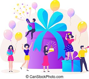 Birthday gift box. Cartoon happy characters celebrating party and dancing at birthday present. Vector concept of friends have fun
