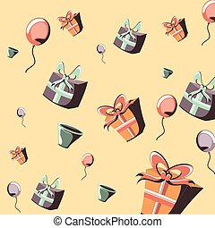 birthday gift boxes balloons decoration party pattern