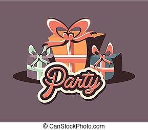 birthday gift boxes ribbon retro party
