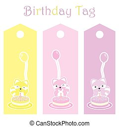 Birthday gift tag with cute colorful raccoons
