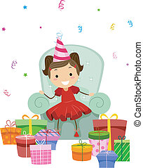 Birthday Gifts - Illustration of a Little Girl Looking at...