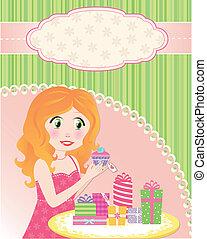 birthday girl - happy girl getting presents