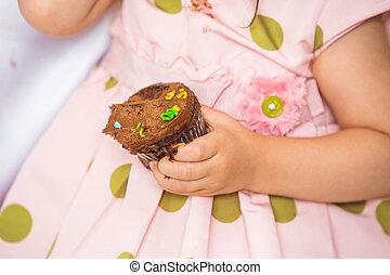 Birthday Girl Holding Cupcake