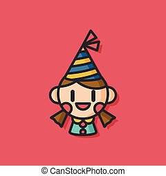 birthday girl vector icon