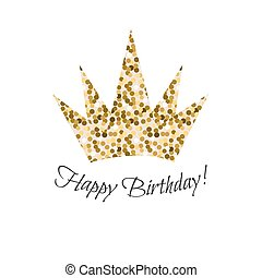 Birthday glitter crown vector icon.