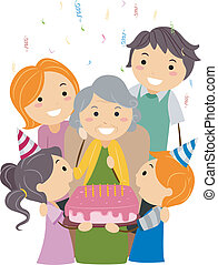 Birthday Grandma - Illustration of a Grandmother Celebrating...