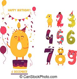 Birthday greeting card design with cute numbers
