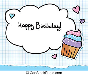 birthday greeting card with cute cupcake and hearts