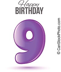 Birthday greeting card template with glossy number nine shaped balloon
