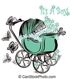 Birthday greeting card th childish pram and butterflies it...