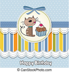 birthday greeting card with a cat
