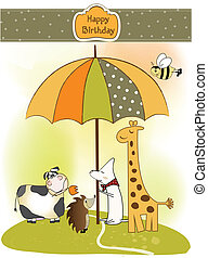 birthday greeting card with animals