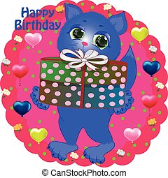 birthday greeting card with cat.