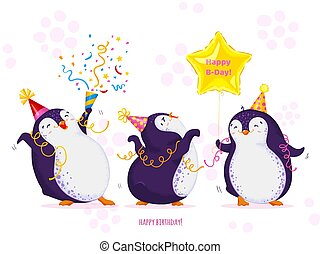 Birthday greeting card with cute dancing penguins. Funny birds in different birthday caps, various poses. Vector cartoon illustration.