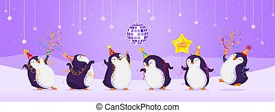 Birthday greeting card with cute dancing penguins. Purple background with stars, disco ball, snowflakes and mountains. Funny birds in different birthday caps. Vector illustration.
