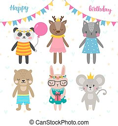 Birthday greeting card with funny cartoon animals. Cute background for children