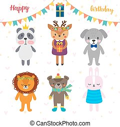 Birthday greeting card with funny cartoon animals. Cute background