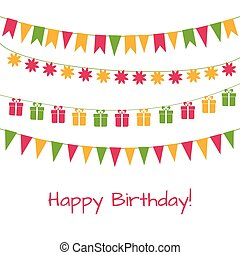 Birthday greeting card with garlands