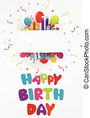 Birthday greeting card with gift bo