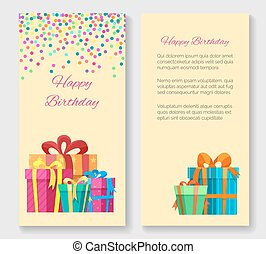 Birthday greeting card with gift boxes