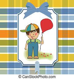 birthday greeting card with little boy