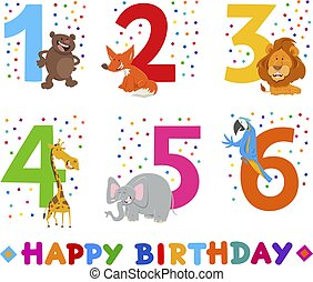 birthday greeting cards set with animals