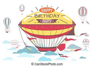 Birthday greetings card with hot air balloon vector illustration