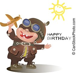 Birthday greetings for the pilot. The Vector illustration