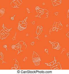 birthday hand drawn seamless on orange