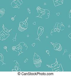 birthday hand drawn seamless on turquoise