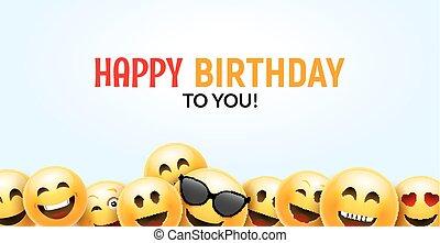 Birthday happy smile greeting card. Vector birthday ...