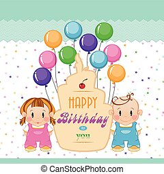 Birthday. Holiday in children. Boy and girl at a birthday party with cake. Greeting baby card with a cake.