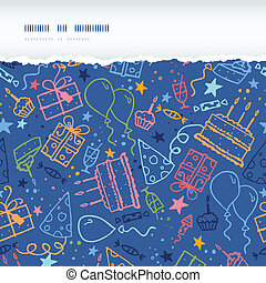 Birthday horizontal torn seamless pattern background