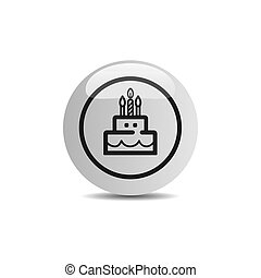 Birthday icon in a button on a white background