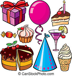 Birthday icon set