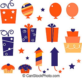 Birthday icons & elements collection isolated on white