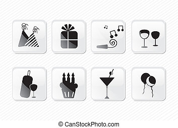 birthday icons glass effect